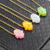 Fnixtar Stainless Steel Gold Color Chain Opal Hamsa Hand Fatima Pendant Necklace Women Opal Stone Necklace 45cm 2Piece lot