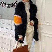 2020 Yeni Kış Gerçek Kürk Kadın Moda Rengi Vurdu Dokuma Kürk Uzun İnce Sıcak Palto Bayanlar Lüks Yüksek Kalite1