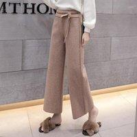 Vintage tobillo longitud mujer lana ancha pantalones piernas 2018 fajas sólidos altos pantalones 2018 cintura elástica lana palazzo pantalones1