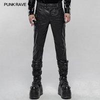 Punk imitación de cuero pantalones guapos PUNK RAVE Hombres de uso diario de la cremallera decoración del bolso de la calle de la moda hombres Lápiz Pantalones Casual 1109