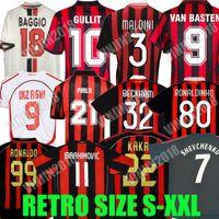 Retro AC Mailand Fußball-Trikots Kaka Baggio Ronaldo Nesta Maldini van Basten Pirlo Inzaghi Beckham Gullit Shevchenko Vintage Hemd Classic Kit