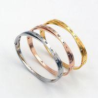 Bangle moda aço inoxidável aço inoxidável rodada cristal numerais romanos cruz pulseira rosa cor de ouro mulher festa de festa1