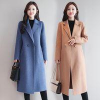 2020 New hiver Manteau en laine Femmes de haute qualité à long laine Blend Lady Turn Casual manteau de laine col vers le bas Pardessus vêtements élégants