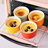 Keramisk porslin Ugnsoppa Skål Creative Stripe Cake Pudding Mousse Cup Solid Färg Dessert Skål Kök Bakningsmjöl VT1832