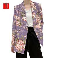 TMODA405 Kadınlar 2021 Moda Kruvaze Çiçek Baskı Blazer Ceket Vintage Uzun Kollu Cepler Kadın Giyim Şık Tops