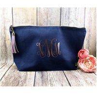 Rose Gold Cosmetic Bag Niestandardowy Marynarka Zipper Bride Makijaż Torba Druhna Makijaż Prezent Dla Dziewczyny Prysznic Bridal Waktery1