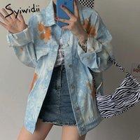 syiwidii Imprimer denim vêtements femmes veste manteau automne 2020 vêtements pour femmes bloc de couleur manteaux korean surdimensionné jean hiver veste