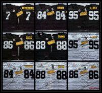 Vintage 95 Greg Lloyd Football Jerseys 7 Ben Roethlisberger 84 Antonio Brown 86 Hines Ward 88 Lynn Swann Shirts Broderie Noir AC1
