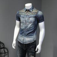 2020 летние новые повседневные печатные джинсовые рубашки мужская мода джинсовая рубашка модная личность мужская короткая рукава