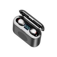 무선 이어폰 블루투스 V5.0 F9 TWS 헤드폰 HIFI 스테레오 이어 버드 LED 디스플레이 터치 컨트롤 2000mAH 전원 은행 헤드셋