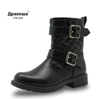 Apakowa Girl Boots Spring&Autumn Mid-Calf Children Kids Motorcycle Warm Snow Boots Pu Leather Buckled Zip Comfy Girls Shoes Y1111