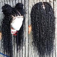 Moda 13x4 parrucche ricci intrecciate parrucche sintetiche parrucca anteriore in pizzo cornrow box in treccia parrucche per donne nere Twist Twist Tortura intrecciata parrucca per le donne africane