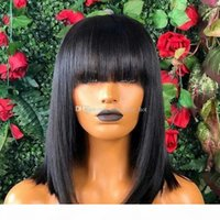 Frente tiro Bob pelucas con flequillo 5x5 superior de seda del cordón del pelo humano de las pelucas para las mujeres 150% brasileña corte embotado Bob peluca con fleco