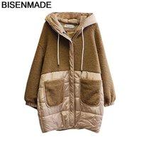 BisenMade негабаритные женские Parkas зимняя теплая новая свободная средняя длина с капюшоном с капюшоном сплавным сплавным карманом вниз
