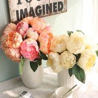 Künstliche Rose Pfingstrose Seidenblume Bouquet Festival Valentinstag Tag Jubiläumsgeschenk Hochzeit Home Tabelle Anordnung Dekor 6 Köpfe WQ625