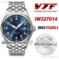 V7F Mark XVIII 327014 Le Petit Prince Swiss ETA2892-2 Automatische Herrenuhr Stahlgehäuse blaues Zifferblatt Edelstahl Armband Neue PureTime J4C3