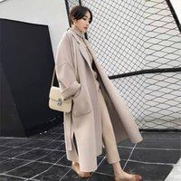 Faux Wool Blends Cape Long Outerwear Womens Black Korean Woo...