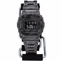 고품질의 버클 캐주얼 스포츠 남성 시계 GMW-B5000 LED 디지털 디스플레이 전자 시계 위장 스틸 벨트 폴딩