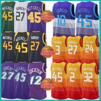 2021 New Donovan 45 Mitchell Basketball Jersey Rudy 27 Gobert Mens John 12 Stockton Mesh Retro Karl 32 Malone Jeunes enfants 0 Conley Lavande