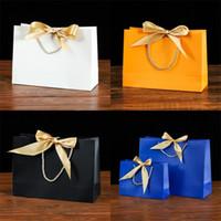 Bow Silk tresse emballage sac de papier de couleur solide paquet de fond carré cadeau de fond de sacs à main mains anniversaire exquisite 2 3kz n2