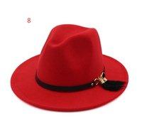 New Fashion Top Cappelli per Uomo Donne Elegante Fashion Solid Felt Fedora Cappelli Band largo Brim Cap Jazz Hat Elegante Trilby Panama Caps