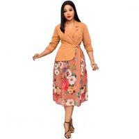 Мода Флористическое Распечатать Пэчворк Африканское Платье Для Женщин Земли Шея Полный Рукав MIDI Платье Осень Новый Элегантный Office Lady1