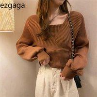 Ezgaga Pull Cropped Femmes Mode Faux Deux V-Col V lâche Pull Pull Stretch Vintage Knit Tops Solid Mesdames Jumper