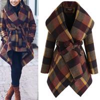 Revers Ausschnitt Wollmantel für Frauen arbeiten Plaid warme Jacken-Mäntel 3 Farben Winter Herbst Wollmantel Plus Size