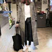 Fashion Long Loose Plaid Winter Coat Women Elegant Turn- down...