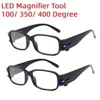 携帯用虫眼鏡LED読書メガネギフト拡大鏡100/350/400度の視力メガネ