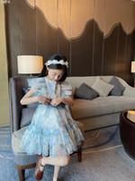 الشحن مجانا أطفال الفتيات فساتين 2021 الصيف طفل الفتيات الدانتيل الزهور اللباس الأزياء الحلو اللباس مع حزام الأطفال الملابس