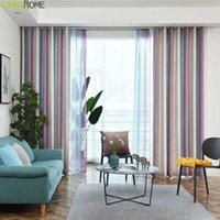 Gyc2272 gradiente linho cortinas para sala de estar arco-íris listra cortinas quarto crianças 85% sombreamento tecido cego