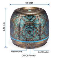 FreeShipping difusor 500ml de bronce metal Aromaterapia Difusor de aceite esencial de la fragancia color de la lámpara 7 humidificador para el bebé Ministerio del Interior