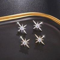 Stud Fashion Sparkles Star Orecchini S925 Aghi sterling Micro Set Pearl Temperamentstud Donne