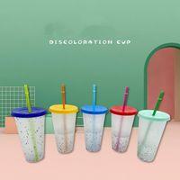 24 once Cambiare colore Bicchieri alcool Confetti Magic Cup plastica con coperchio e paglia riutilizzabile freddo Summer Cup boccali CCA12574 50pcs