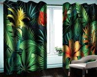 3d Cortina 3d florales modernas cortina de la ventana hojas tropicales de la selva tropical y flores de alta definición digital la impresión 3d floral fina cortina práctica