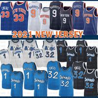 2021 New Basketball Jersey OrlandoMagic Mens New.YorkKnicks 32 O'Neal RJ 9 Barrett Patrick 33 Ewing Penny 1 Hardaway Black