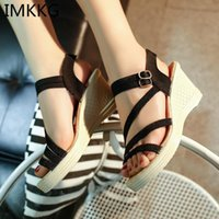 Sandalias Imkkg Plus Tamaño 41 Mujeres Verano Verano Toe Fish Head Plataforma de moda High Heels Wedge Shoes S166