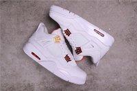 Authentique feiren 4 Chaussures de basketball Blanc Hommes Basket Boucle de dentelle avec Processus de galvanoplastie Apportez une chaussure de sport de lustre métallique brillant