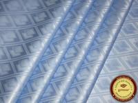 Allemagne Qualité Jacquard Damask Sky Blue Bazin Riche Guinée Brocade African Garme Tissu Coton Tissu de vêtement Africain 100% coton