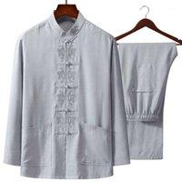 Tai chi terno 4xl outono novo bordado chinês homens algodão linho wu shu roupa longa camisa longa pant1
