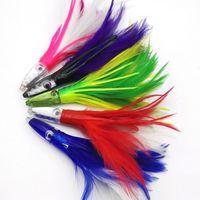 5 colori Trolling acrilico / testa epossidica Testa di piuma Polpo Occhialbusto LUR SALATALLA SALATALE PESCA 201031