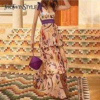Twotwinstyle Baskı Kayışı Elbiseler Kadın Kolsuz Yüksek Bel Kat Uzunluk Pileli Elbise Kadın Yaz Rahat Moda Yeni Y200102