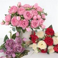 Dekorative Blumen Kränze Hobbylane 5 Köpfe der Knospe Pfingstrose Künstliche Blume Home Decoration Hochzeit Rose Bouquet Wall1
