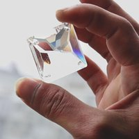 1 pcs 45mm clear quadrado candelabro de vidro cristais suncatcher prismas 4holes beads diy prismas pingentes decoração acessórios h jllqfm