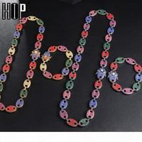 Hip Hop 1kit Bling Multicolor Kaffeebohne Euro Out CZ Schwein Nase Strass Charme Link Kette Halsketten Armband Für Männer Schmuck