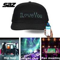 Ballkappen SAZ LED-Hüte, Display-Nachricht für Weihnachtsfeier-Geburtstagskampagne Hut Gorra Hip Hop Miami Spaß