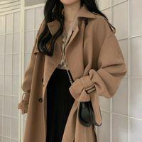 Cazadora Mujeres Caqui invierno Prendas elegante floja larga para mujer abrigos Ocio Brithsh estilo retro Streetwear Moda sólido 201027