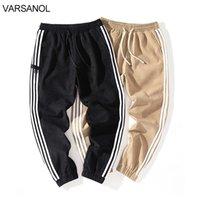 Варсанол мужские модные бегуны одежда мужчины полосатый карандаш полная длина брюки большие карманы плоские брюки негабариты 201222