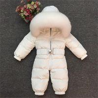 الشتاء أطفال بنات الفتيان snowsuit بذلة الطفل بطة بيضاء أسفل جاكيتات حقيقي كبير الثعلب الفراء مقنعين 201029